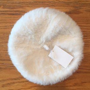 White beret winter hat fuzzy soft cozy cream